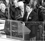 ronald reagans inaugural address Reagan pledged in 1981 to reduce government's intrusion, and on re-election in 1985, commented: the system has never failed us, but for a time we failed the system&quot.