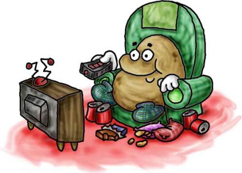 Obese Couch Potato Getting off the...