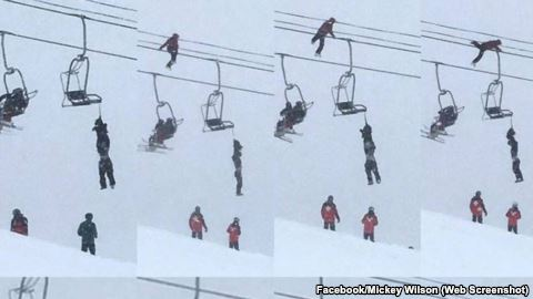 Mickey Wilson climbed a tower and crawled along a cable to help save another skier's life.