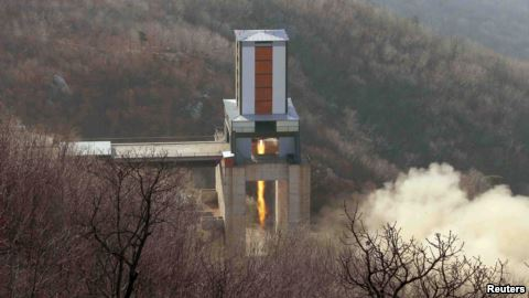 A new engine for an intercontinental ballistic missile (ICBM) is tested at a site at Sohae Space Center in Cholsan County, North Pyongan province in North Korea.