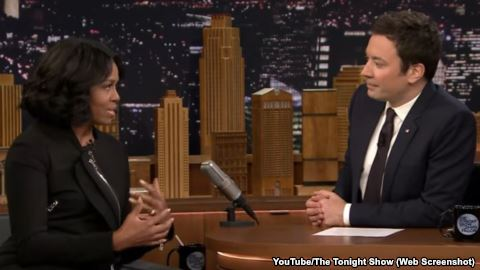"""Michelle Obama joined Jimmy Fallon on """"The Tonight Show"""" on Wednesday. She said goodbye to many people who followed her family in the White House."""