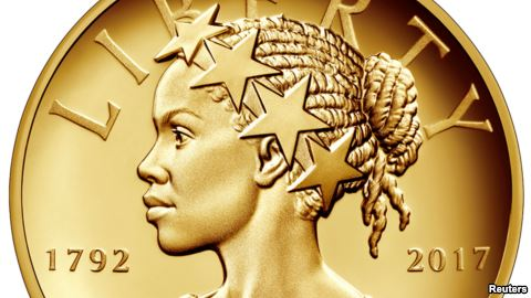 The new $100 gold coin featuring an African-American woman as the face of Lady Liberty is shown. Courtesy of The United States Mint/Handout via REUTERS