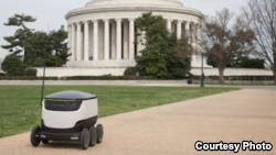The Starship Technologies delivery vehicles launched in Washington D.C. can transport food and other small items to customers ordering via an app. (Starship Technologies)