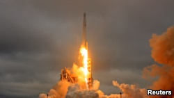 A SpaceX Falcon 9 rocket lifts off on a supply mission to the International Space Station from historic launch pad 39A at the Kennedy Space Center in Cape Canaveral, Florida, Feb. 19, 2017.