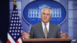 Secretary of State Rex Tillerson speaks about North Korea during the daily press briefing in the Brady Press Briefing Room at the White House, in Washington, Monday, Nov. 20, 2017. (AP Photo/Manuel Balce Ceneta)
