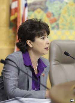 FILE - In this April 22, 2015 file photo, Sen. Connie Leyva, D-Chino, works at the Capitol in Sacramento, Calif. Leyva's bill SB320 would require all university campuses to offer medication abortion by Jan. 1, 2022.