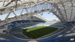 In this photo taken on Wednesday, March 1, 2017, an inside view of the Fisht Olympic stadium which will host some 2018 World Cup matches in Sochi, Russia. (AP Photo/Artur Lebedev)