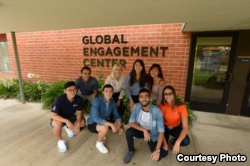 Students gather outside the Global Engagement Center at Orange Coast College in Orange County, California.