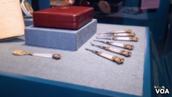 A display of dental instruments used on Queen Victoria is shown at the Dr. Samuel D. Harris National Museum of Dentistry at the University of Maryland in Baltimore. (From VOA Video)
