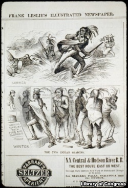 Engraving from Oct. 1, 1881 issue of popular Frank Leslie's newspaper. Stereotypes of the 'savage' or 'defeated' Indian have helped shape public opinion about Native Americans for more than 200 years.