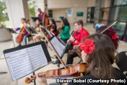 A student musical group performs on the Valencia College campus in Orlando, Florida.