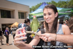 A student takes a picture with a bird at special event on the Valencia College campus in Orlando, Florida.
