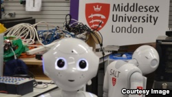 Pepper is shown at Middlesex University in London, England, where a team of engineers and computer scientists is developing the AI that powers the robot. (Middlesex University)