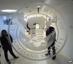 The Department of Homeland Security logo is seen at one of its annex facilities in Fairfax, Virginia