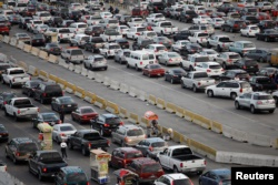 Cars wait to cross at San Ysidro border crossing between the U.S. and Mexico, in Tijuana, Mexico, May 6, 2019.