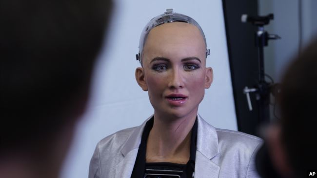 In this image released on Monday, Aug. 6, 2018, Sophia, a humanoid robot developed by Hanson Robotics, will welcome visitors to the new.New Festival in Stuttgart taking place on October 8-10 at the Hanns-Martin-Schleyer-Halle. (Hanson Robotics Limited/COD