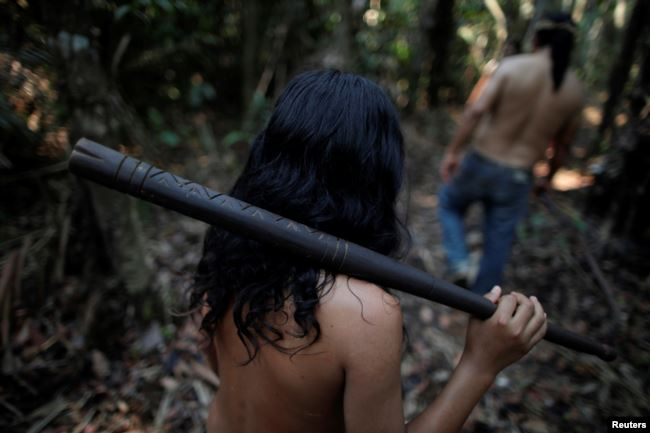 Indigenous people from the Mura tribe walk in a deforested area in nondemarcated indigenous land inside the Amazon rainforest near Humaita, Amazonas State, Brazil August 20, 2019.