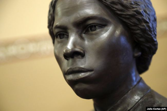 A bronze statue of abolitionist Harriet Tubman is seen during a private viewing ahead of its unveiling at the Maryland State House, Monday, February 10, 2020, in Annapolis.