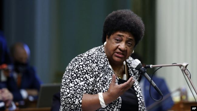 FILE - In this June 10, 2020 file photo Assemblywoman Shirley Weber, D-San Diego, talks at the Capitol in Sacramento, Calif. (AP Photo/Rich Pedroncelli, File)